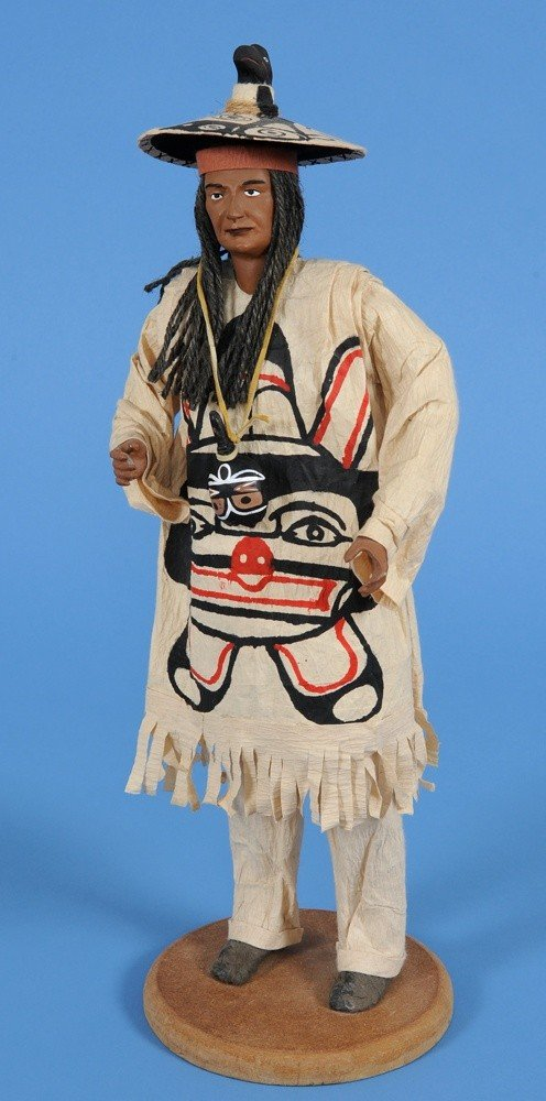 20: Carved Wooden Chief Doll with Raven Hat, Cape and S