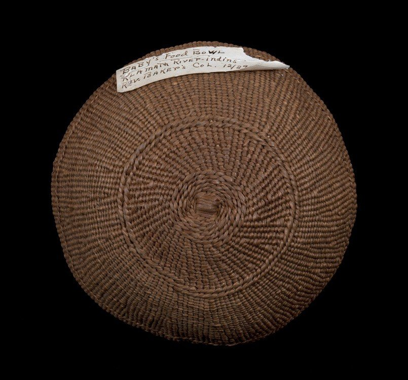 24: Klamath Baby's Basketry Hat ca. 1900 with Collector