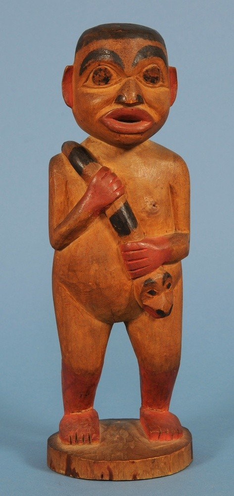 98: 19TH C. Tlingit Shaman Figure Holding a Serpent - C