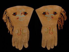 Pair Of Piegan Beaded Gloves With Floral Design On