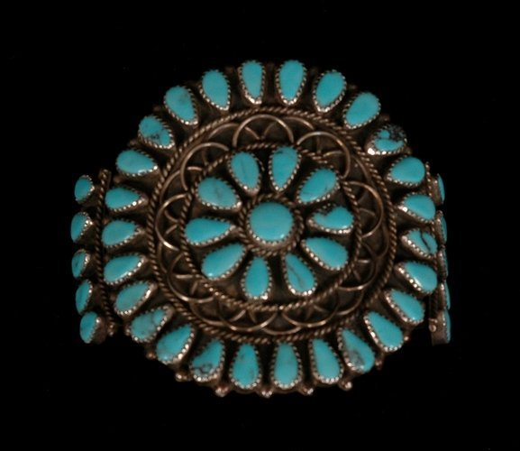 49: Navajo Silver and Turquoise Cluster Bracelet 60 GMS