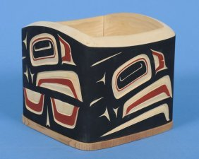 Carved And Painted Bent Wood Bulge Box With Eagle D