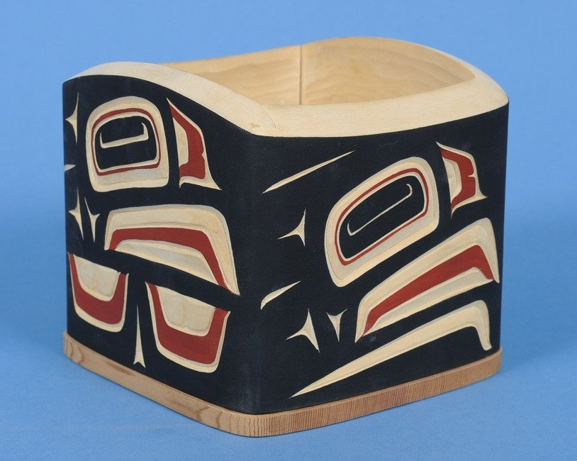 54: Carved and Painted Bent Wood Bulge Box with Eagle D