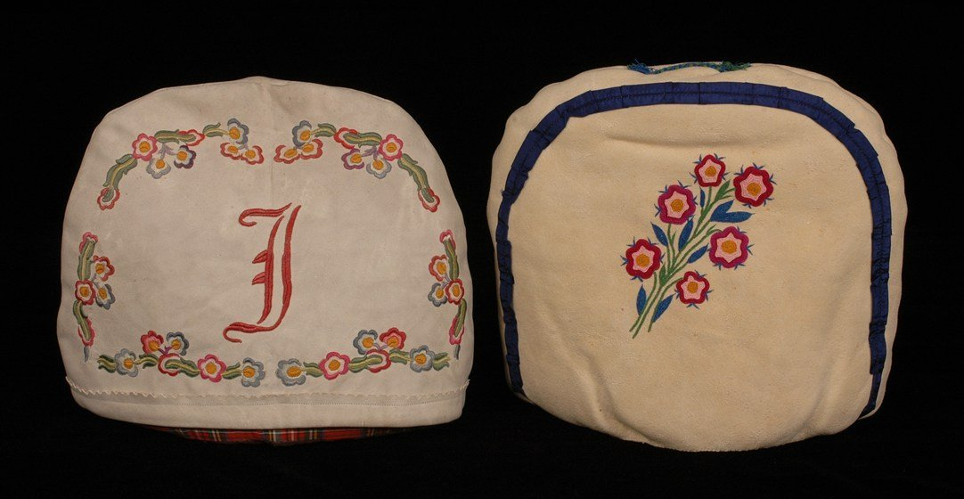 59: Two Athapascan Silk Embroidered Tea Cozies with Flo
