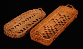 "Two Salish Handled Basketry Trays 10"" L. - 12 1/2"""
