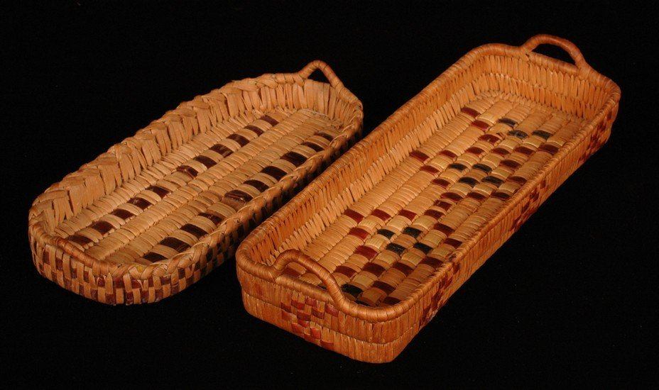 """60: Two Salish Handled Basketry Trays 10"""" L. - 12 1/2"""""""