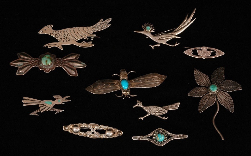 """61: Ten Southwest Silver and Turquoise Pins 1 1/2"""" - 2"""