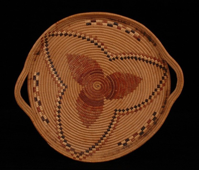 62: Lillooet Handled Basketry Tray with Floral Imbricat