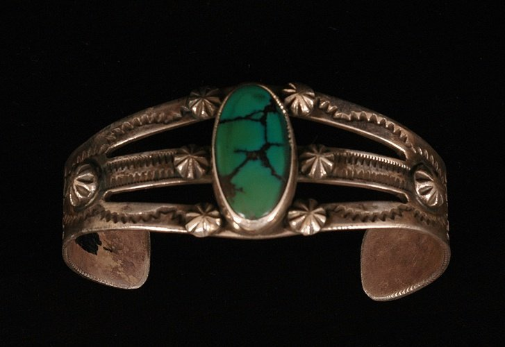 64: Navajo Silver and Turquoise Single Stone Bracelet 5