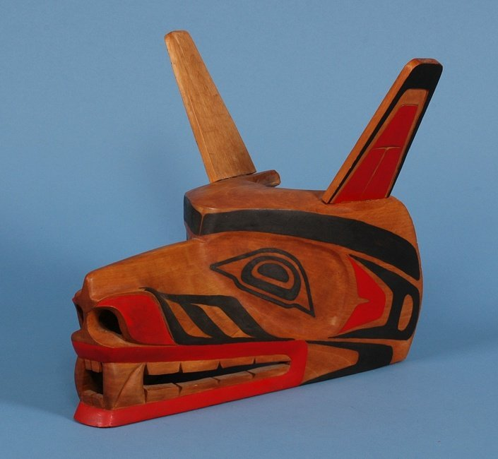 "65: Salish Wolf Helmet Carved by Rocky LaRock 1980  15"""
