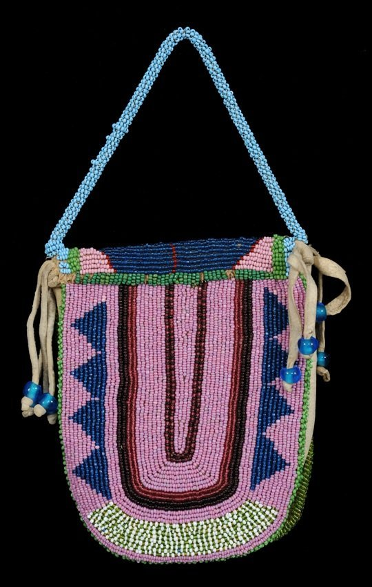 67: 19TH C. Plateau Purse with Beaded Floral and Geomet