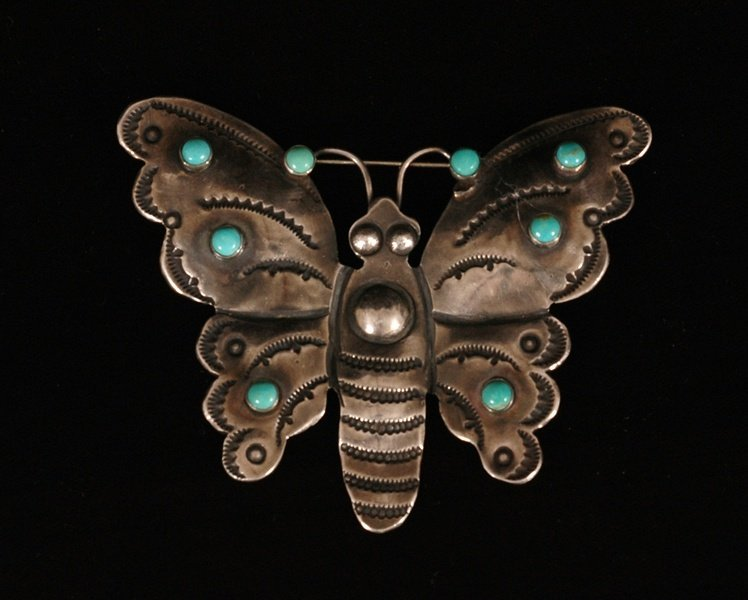 """69: Navajo Silver and Turquoise Butterfly Pin 2 1/8""""x 3"""