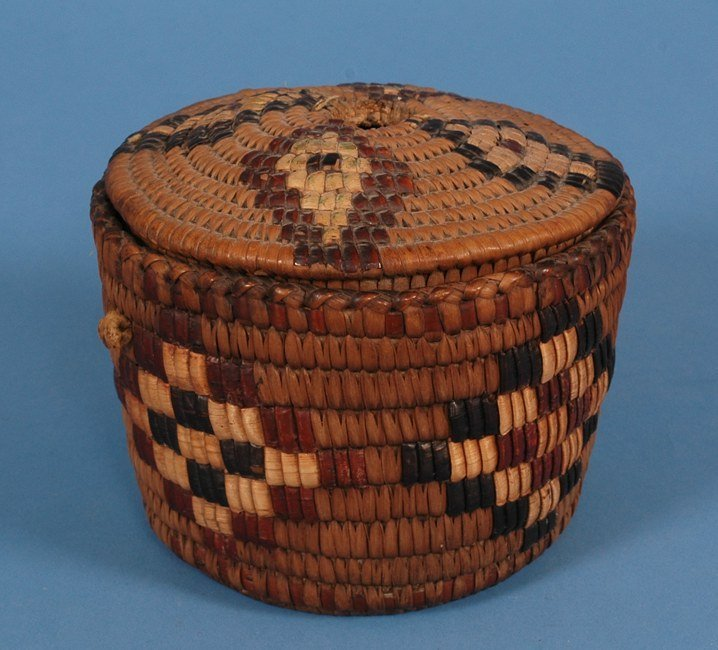 71: Salish Lidded Yarn Basket - Imbricated Diamond Desi