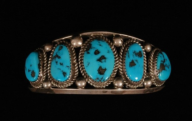 72: Navajo Silver and Turquoise Five Stone Bracelet 38