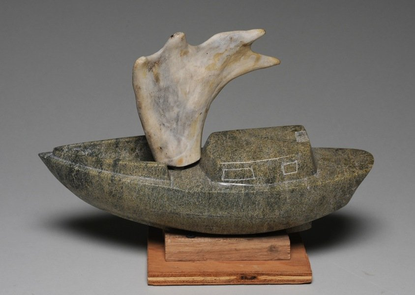3: Carving of a Boat by Anu Arlooktoo - Lake Harbour -