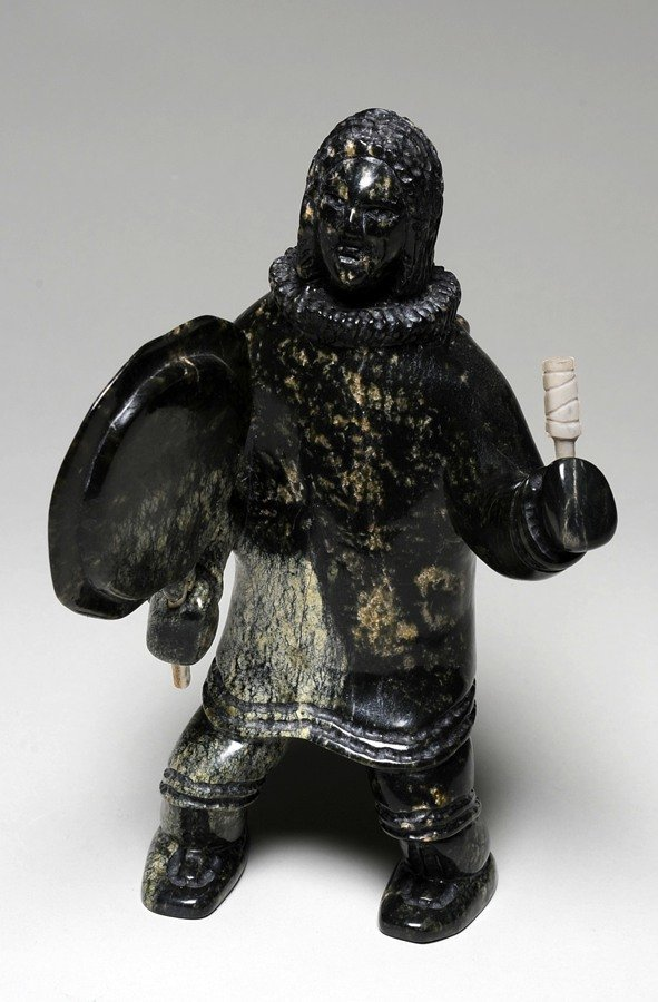 5: Drum Dancer Sculpture by Ricky Jaw - Cape Dorset 200
