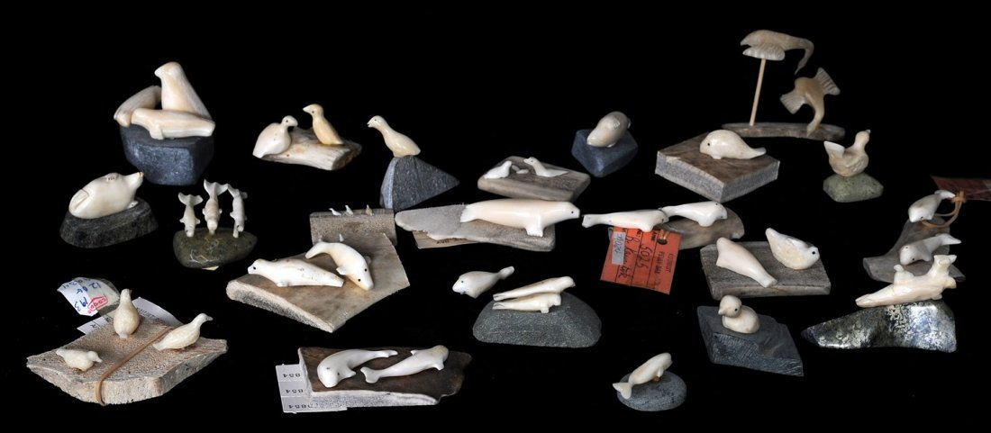 8: 23 Miniature Ivory Carvings of Whales, Seals and Bir