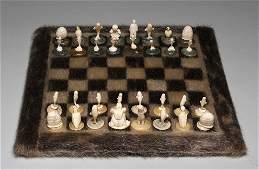 150: Inuit Carved Chess Set on Sealskin Board - Artist