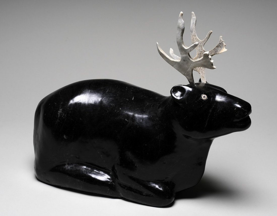 219: Sculpture of a Resting Caribou by Henry Isluaanik