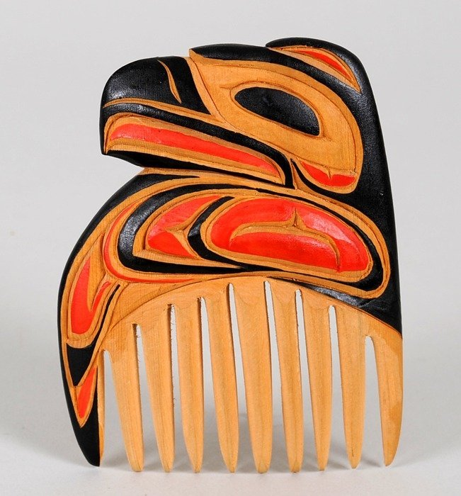 501: Northwest Coast Comb with Eagle Design Carved by R