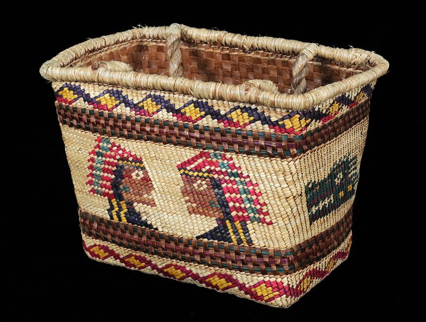 502: Nuu-chah-nulth Carry Basket with Chief and Sisiutl