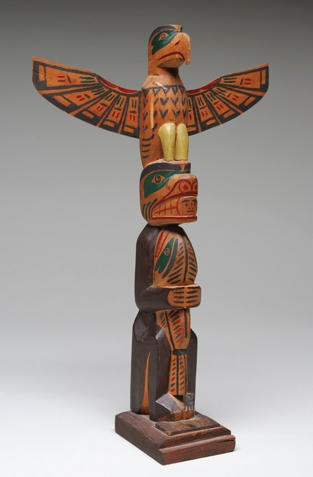 506: George Nelson Totem Carved with Eagle and Bear Hol