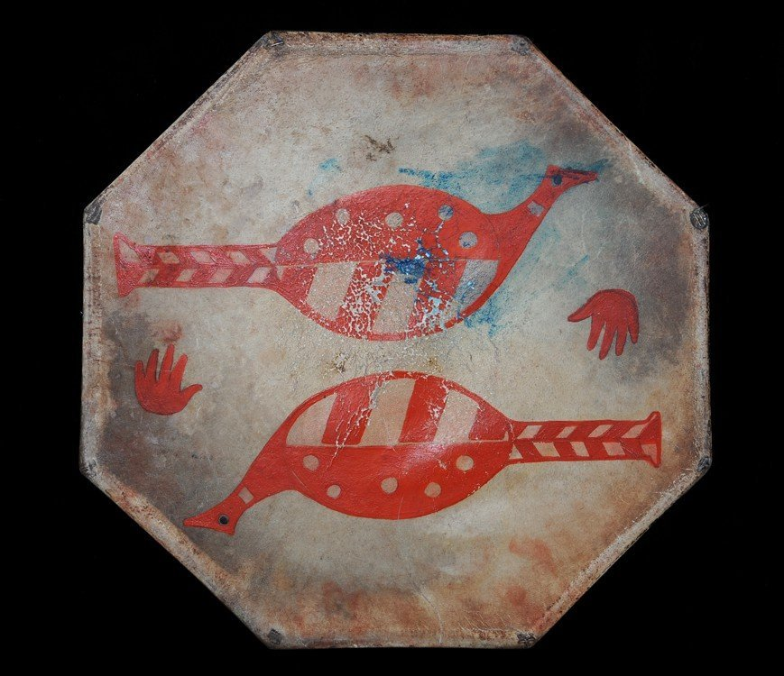 507: Makah Drum with Painted Bird and Hand Motif ca. 19