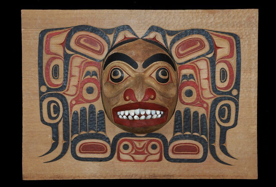 513: Haida Box Panel with Carved Bear Mask From the Est