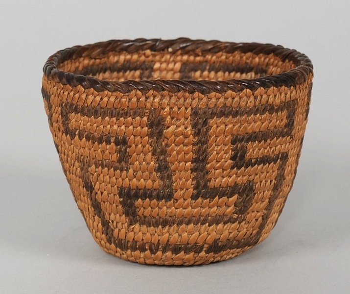 "514: Finely Woven Pima Basketry Cup 3"" D. 2"" H.  Fine C"