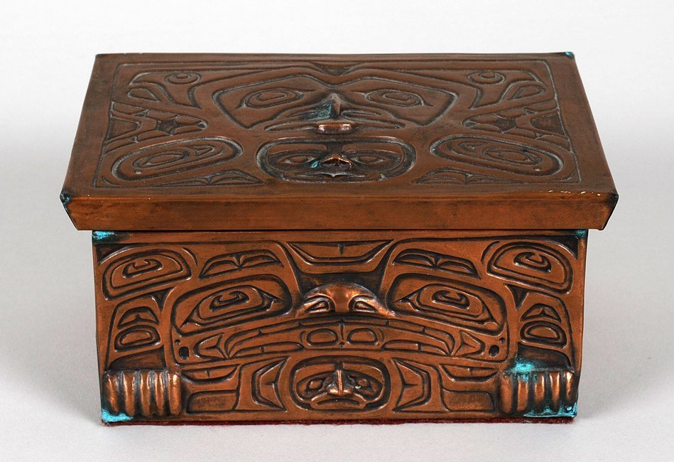 517: Northwest Coast Copper Foil Lidded Box with Totemi
