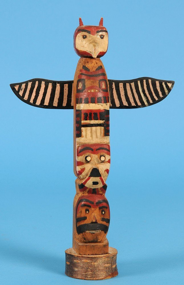 518: Salish Totem Carved with Three Figures ca. 1940's