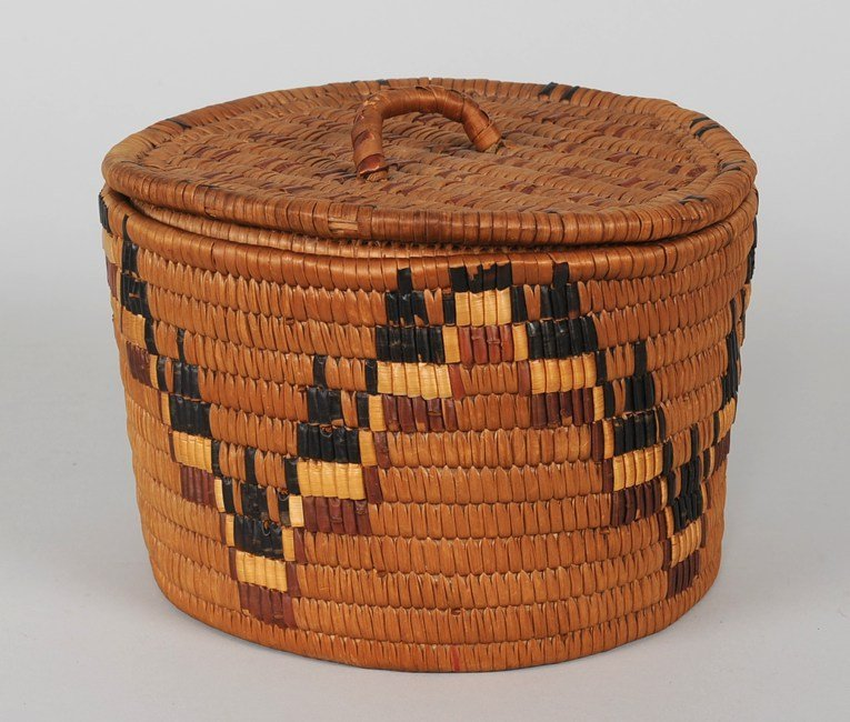 520: Salish Lidded Storage Basket ca. 1920's From the E