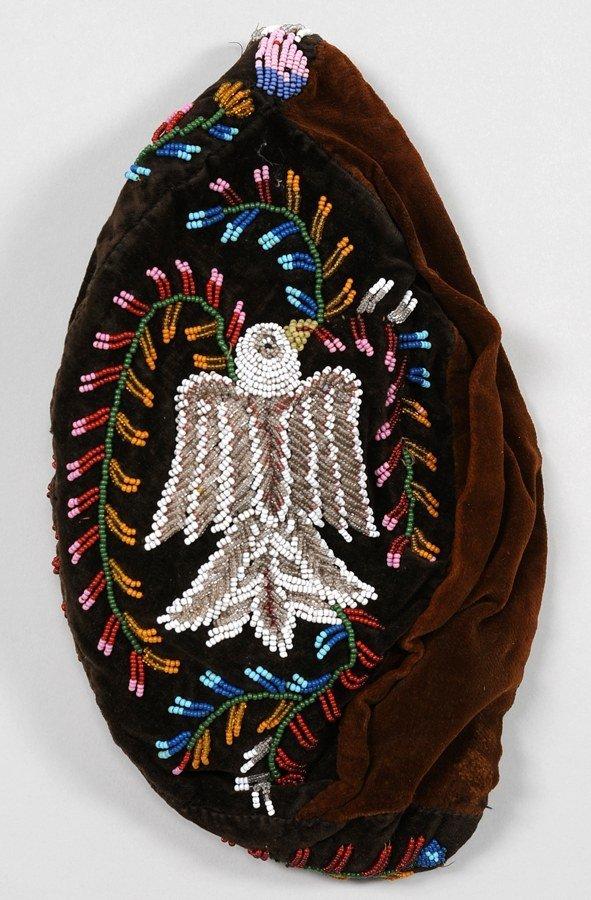 559: Iroquois Glengarry Hat Beaded with Bird Design on