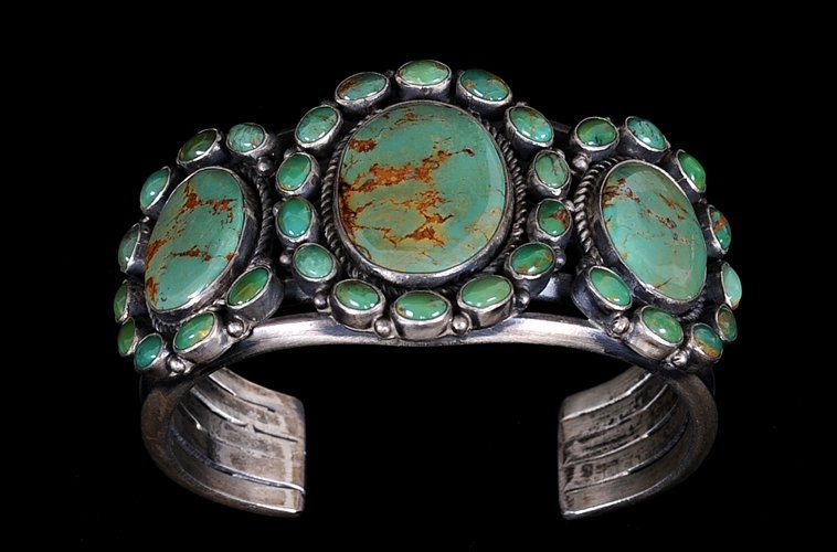 624: Navajo Silver Bracelet with Gem Quality Green Turq
