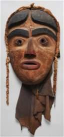 683: 19TH C. Bella Coola Dance Mask, Carved Maple Wood,