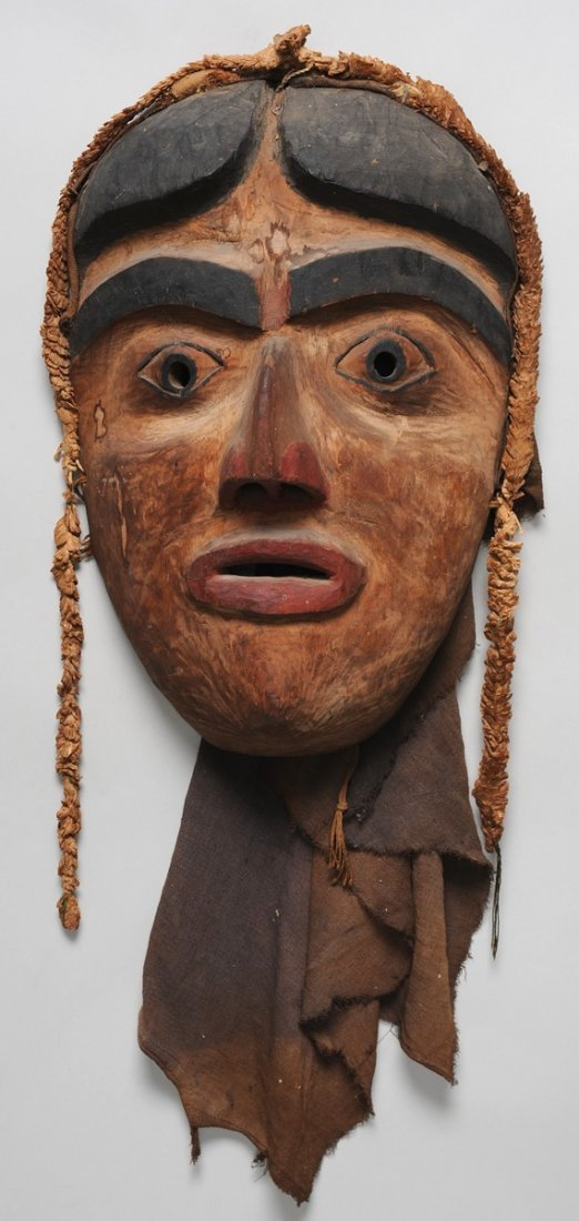 683: 19TH C. Bella Coola Dance Mask, Carved Maple Wood,