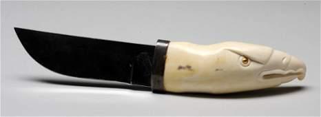 782: Elsie John Carved Ivory Handled Knife Depicting an