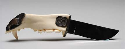 "821: Elsie John Jaw Bone Handled Knife 10 1/4"" L. Fine"