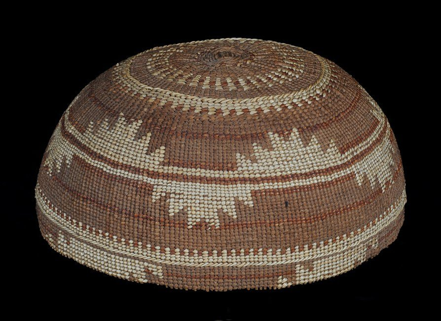 "Hupa Hat with Geometric Design 7 1/4"" D. 3 3/4"" H.  Goo"