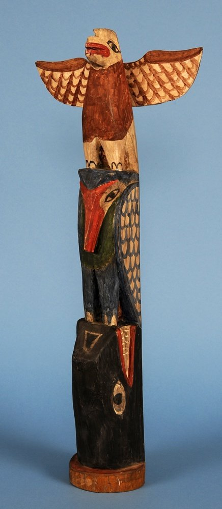 Northwest Coast Totem Carved with Eagle, Oystercatcher