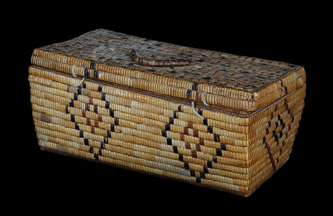 Lillooet Fully Imbricated Lidded Basket with Diamond De