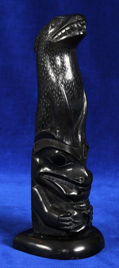 Haida Argillite Totem Carved with Sea Lion and Bear wit