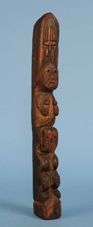 """Salish Totem Carved with Two Figures ca. 1940  19 1/2"""""""