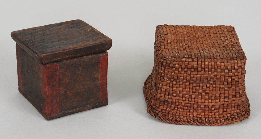 Miniature Red Corner Bent Wood Box with Basketry Cover