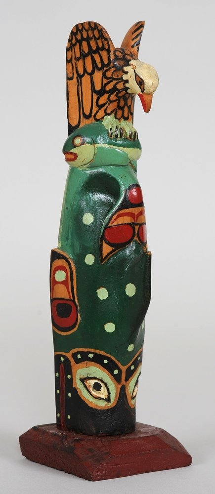 Tsimshian Totem with Eagle and Whale Carved by Titus Ca