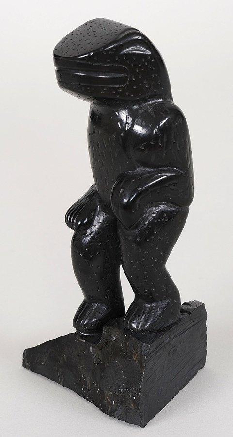 Haida Argillite Frog Figure Carved by Harold Yeiltatzie