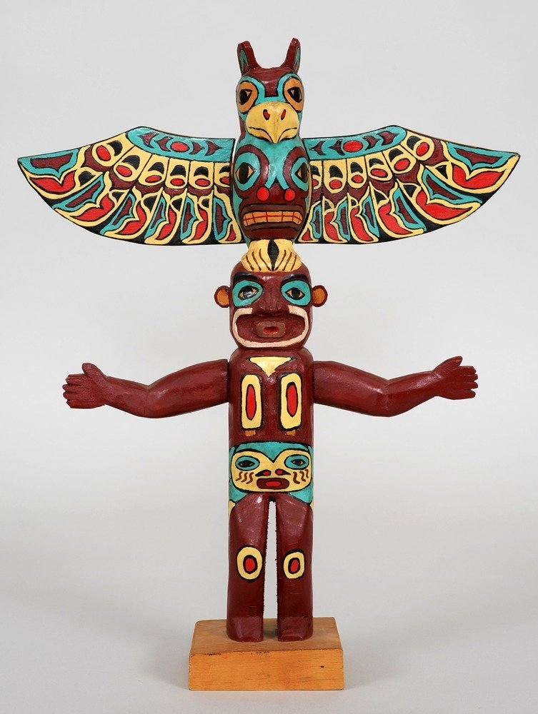 Dsonoqua and Thunderbird Totem Carved by Raymond Wesley