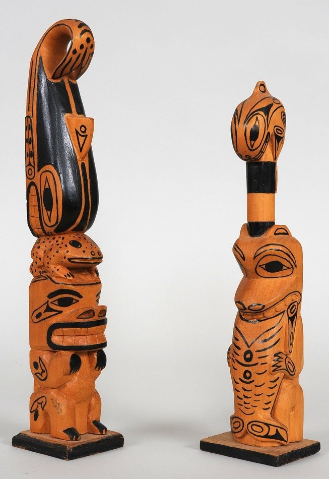 """Two Totem Carved by Raymond Wesley, Whale, Bear 12"""" H."""