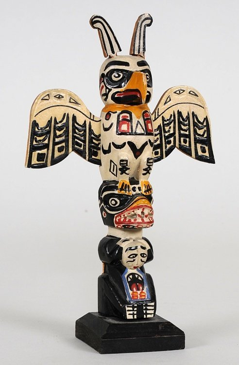 Miniature Totem Carved with Thunderbird and Bear Holdin