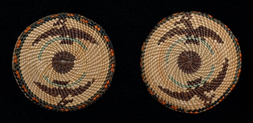 Two Nuu-chah-nulth Basketry Buttons with Eagle Design 1